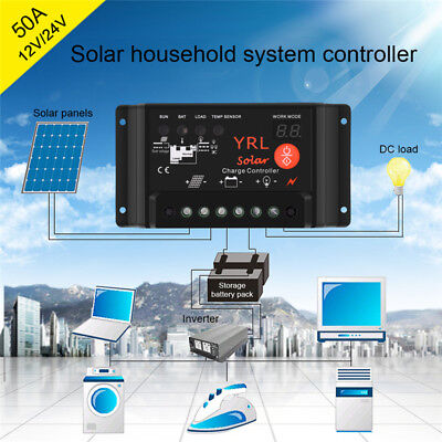 10/20/30A Waterproof Solar Panel Controller Battery Charger Regulator 12v/24v HQ