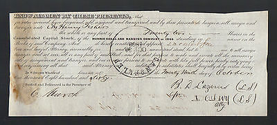 MORRIS CANAL & BANKING Company 1844 Henry Fisher Stock Certificate NJ  Lazares