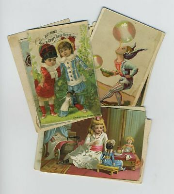 (12) 1800's Sewing Advertising Trade Cards Kids Boy Girl Dolls Tea Party bv914