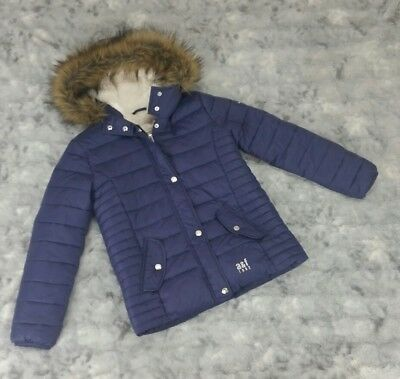 Abercrombie Kids Girls Size 11/12 Purple Puffer Coat Faux Fur Trim Hood
