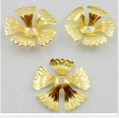 Free Ship 50Pcs Gold Plated Flower Beads Caps For Jewelry Making 17x4mm