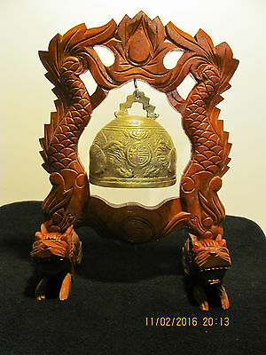 Antique Chinese Carved Wood & Brass Dinner Gong