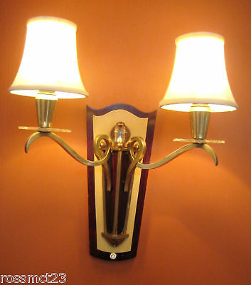 Vintage Sconces pair antique 1950s 2 arm Eames Mid Century   Likely French