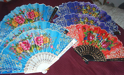 Lot 6 New Flower Hand Held Fabric Folding Fans US SELLER Partys Wedding Church e