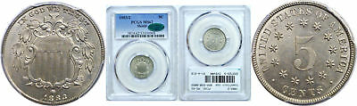 1883/2 Shield Nickel PCGS MS-62 CAc