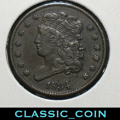 1834 Classic Head 1/2 Cent Copper 183 Years Old Free S/h