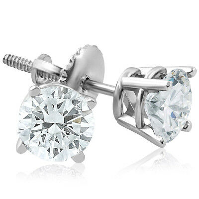 F/SI 1ct Diamond Screw Back Round Studs 14k White Gold Clarity Enhanced