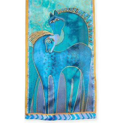 New LAUREL BURCH 100% Pure Silk SCARF Wrap Throw TEAL MARES HORSE PONY BLUE