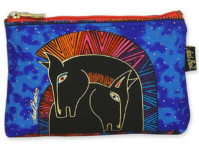 New LAUREL BURCH Cosmetic Bag BLACK MARES Pouch Case Purse HORSE PONY Blue Sky