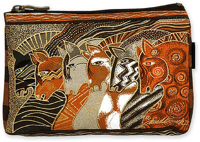 New LAUREL BURCH Cosmetic Bag MYTHICAL HORSES Pouch Case Purse MARE PONY Brown