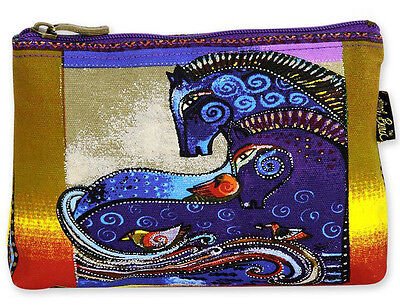 LAUREL BURCH Cosmetic Bag MYTHICAL HORSES Pouch Case Purse MARE PONY Golden Blue