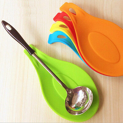 Kitchen Cooking Silicone Heat Resistant Spoon Holder Tool Accessory Waterproof