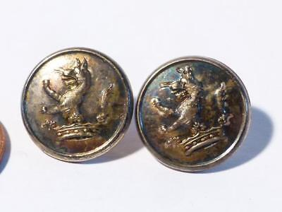 2 Antique English c1890 LION DOG FOX ? in CROWN with TAIL Livery Buttons #L2
