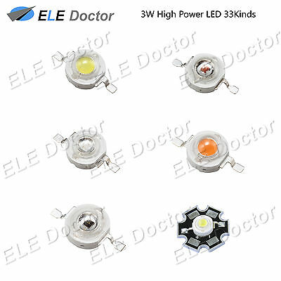 3W watts High Power SMD LED Chip Light Beads White Red Blue Yellow UV With PCB