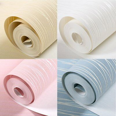 10M Simple Modern Home Embossed Textured Lines Wallpaper Roll Striped CY