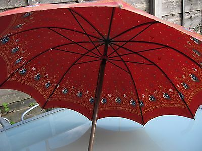 Antique Edwardian Ladies Umbrella/parasol Carved Wood  Handle Red Floral Fabric