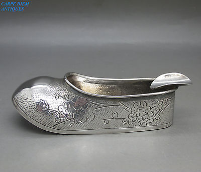 "VINTAGE GOOD CHINESE UNUSUAL SOLID SILVER ""PRUNUS SHOE"" ASHTRAY, HONG KONG c1930"