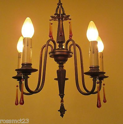 Vintage Lighting 1920s chandelier with amber glass
