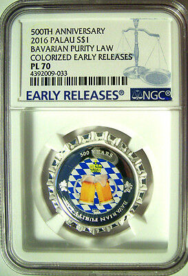 2016 Palau $1 Bavarian Purity Law 500th Ann. Silver Bottle Cap Coin  NGC PL70 ER