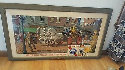 (VTG) 1960s PABST BEER OLD TIME FIRE TRUCK SIGN MILWAUKEE GAME ROOM MAN CAVE