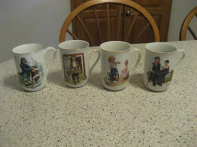 Vintage Norman Rockwell Coffee Cup Mug Set Of 4 Museum Collection