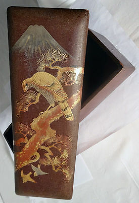 Antique Meiji Japanese Box Handpainted Gilded Lacquer (#5421)