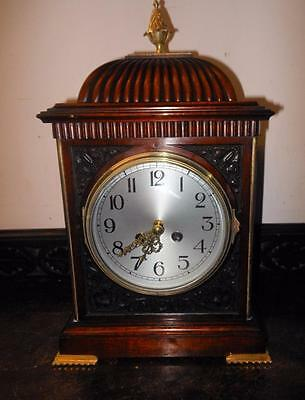 french carved mahogany cased bracket clock c1900s
