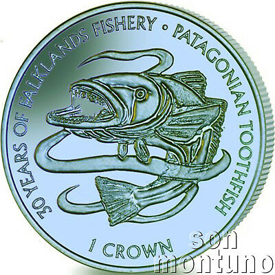 2017 PATAGONIAN TOOTHFISH - Blue/Green TITANIUM Coin in BOX+COA Falkland Islands