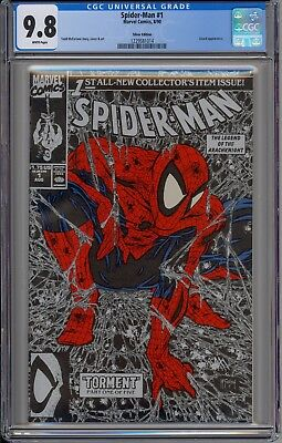 Spider-Man #1 Silver Cover Todd McFarlane CGC 9.8 NM/MT white pages Torment Pt 1
