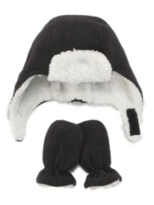 bf067ea197c Nice Caps Infant Toddler Boys Black Fleece Trapper Hat Mittens Set Aviator  2-4T