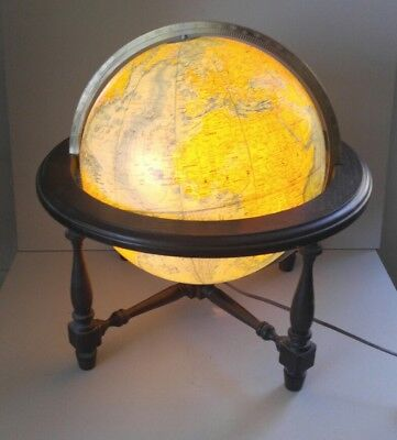 Vintage Lighted Replogle World Classic Large World Globe w/ Wood Stand Light Up