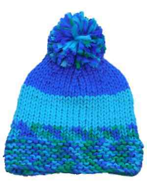 b85398a8353 URBANOLOGY WOMENS BLUE And Green Knit Beanie Stocking Cap Hat ...