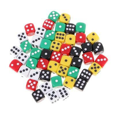 50pcs Transparent Gaming Dice D6 Six Sided Die with Dice Bag for Kids Gift