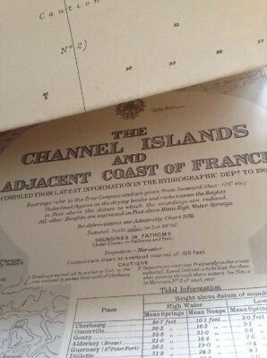 Nautical Admiralty Map Channel Isles And  Adj FrEnch  Coast 1.25o0 X 710Mm -