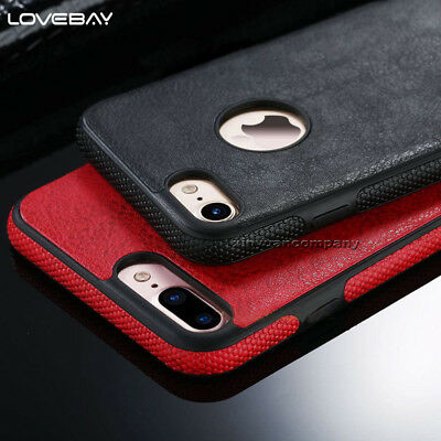 iPhone X 5 SE 6S 7 Plus Genuine Rugged Thin PU Leather Case Cover Skin For Apple