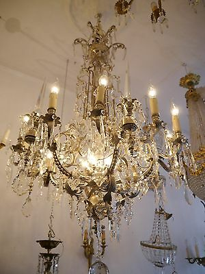 FANTASTIC VERY LARGE FRENCH CHANDELIER LUSTRE NICKEL BRASS ANTIQUE Vintage