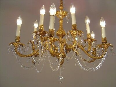 12 Light Brass French Crystal Chains Chandelier Glass Vintage Lamp