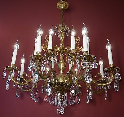 Classic Big Brass Spanish Crystal Chandelier Old Vintage