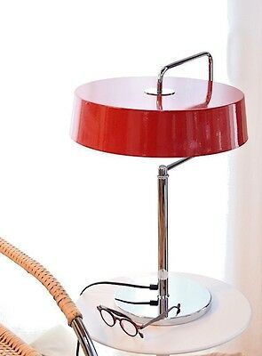 Pierre Chareau Red Table Lamp Bauhaus Mid-Century