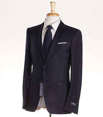 NWT $1895 CANALI Two-Button Solid Navy Blue Wool Suit 36 R (Eu 46) Modern Fit