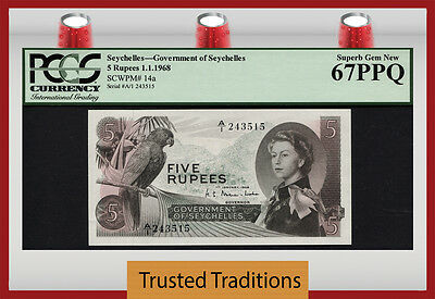 TT PK 14a 1968 SEYCHELLES 5 RUPEES PCGS 67 PPQ SUPERB GEM NEW ONLY ONE FINER!