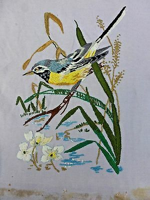Pretty vintage hand-stitched emboridery on linen grey yellow wagtail on rushes