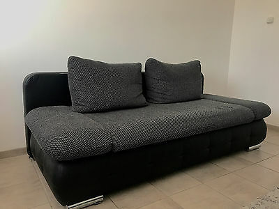 sofa couch in leder mit bettfunktion eur 150 00. Black Bedroom Furniture Sets. Home Design Ideas