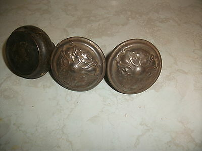 Antique Vintage Arts Crafts Exterior Entry Door Knobs Embossed Steel Metal Iron