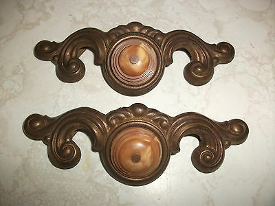 Vintage Ornate Victorian Brass Tone Art Deco Metal Drawer Pull Dresser Handle