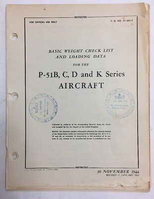 1944 P-51B, C ,D & K Series Aircraft Basic Weight Check List and Loading Data