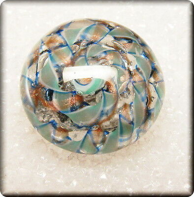 Vintage Glass Paperweight Button Twisted ribbons of Mint Green & blue J Israel