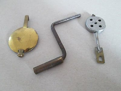 CLOCK PARTS .... 2 x PENDULUMS AND BRASS WINDER KEY