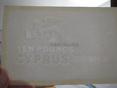 Cyprus 10 pounds 1914 blank original watermarked paper. Exceptionally RARE note
