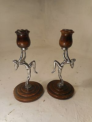 Vintage Art Deco Dancer Candlesticks  ,    ref 3079